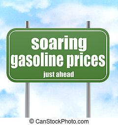 ord, bensin, underteckna, stigande, grön, priser, väg