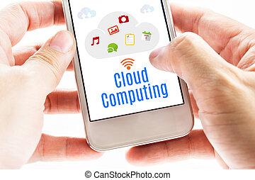 ord, beräkning, concept., ikonen, uppe, hand, ringa, två, holdingen, digital, nära, smart, moln