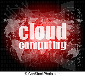ord, beräkning, nymodig, virtuell, avskärma, bakgrund, toucha, teknologi, moln