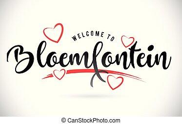 ord, bloemfontein, text, välkommen, hearts., kärlek, dopfunt...