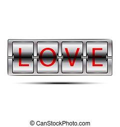 ord, concept., flip, isolerat, ?love?, bakgrund., bord, vit, panel