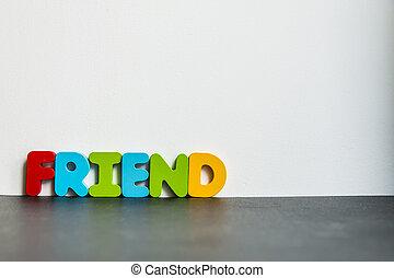 ord, färgrik, Trä, bakgrund, vit, vän