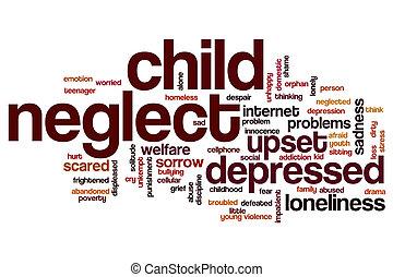 ord, försumma, moln, barn