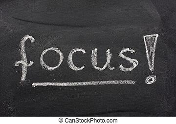 ord, fokusera, på, a, blackboard