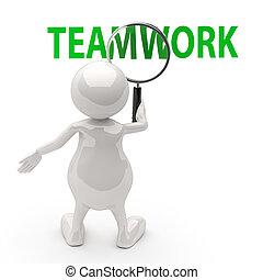 ord, folk, glas, teamwork, förstorar, 3