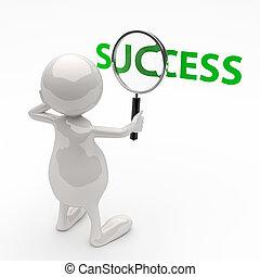 ord, framgång, folk, glas, förstorar, 3