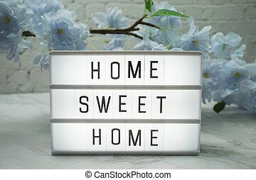 ord, hem, lätt, blomningen, söt, boxas, dekoration