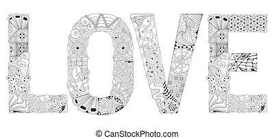ord, kärlek, för, coloring., vektor, dekorativ, zentangle, objekt