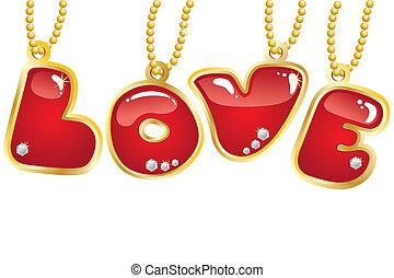 ord, kärlek, hängande