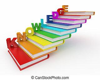 ord, kunskap, på, böcker, som, trappa
