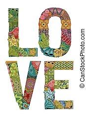 ord, love., vektor, dekorativ, zentangle, objekt