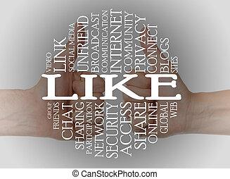 ord, moln, social, media
