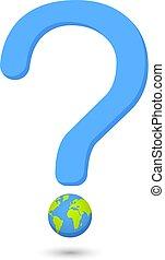 ord, natur, eco, klot, vector.earth, fråga, illustration, märke, utfrågning, vector.question, illustration.global, globe.global, world., warming