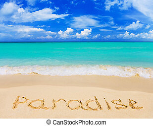 ord, paradis, på, strand