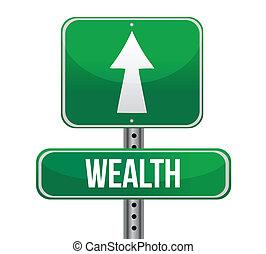 ord, rikedom, vägmärke