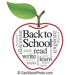 ord, skola, baksida, moln, äpple