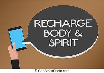 ord, skrift, text, recharge, bodyandspirit., affärsidé, för,...