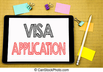 ord, skrift, visum, application., affärsidé, för, pass, applicera, skriftligt, på, kompress, laptop, trä, bakgrund, med, klistrig anteckning, och, penna