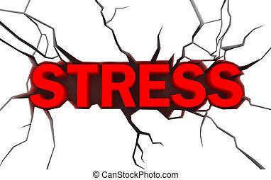 ord, stressa, in, röd, färg, med, spricka