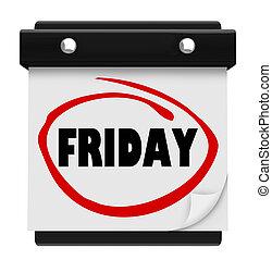 ord, vägg, fredag, plan, kalender, helg, dag, påminnelse
