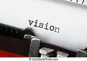 ord, vision, på, retro, skrivmaskin