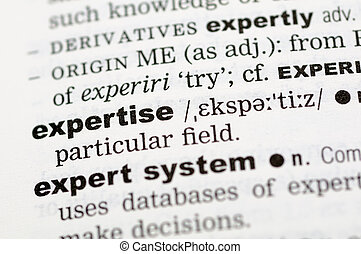 ordbok, definition, av, expertis