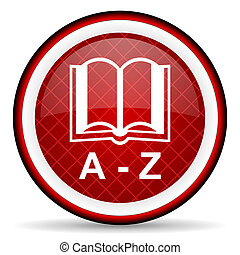 ordbok, glatt, bakgrund, vit röd, ikon