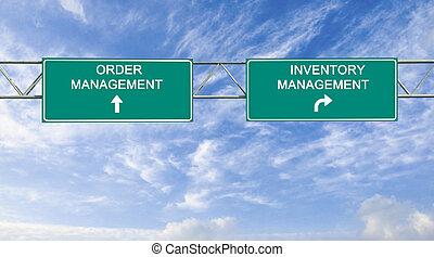 ordem, gerência, inventário, sinal estrada