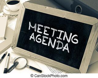 orden día reunión, concepto, mano, dibujado, en, chalkboard.