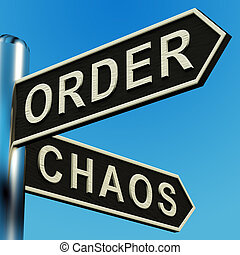 orden, o, caos, direcciones, en, un, poste indicador
