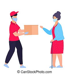 orden, paquete, seguro, médico, ayuda, door., isolation., ...