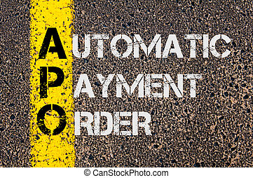 orden, siglas, pago, automático, empresa / negocio, apo