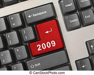ordenador teclado, con, 2009, llave