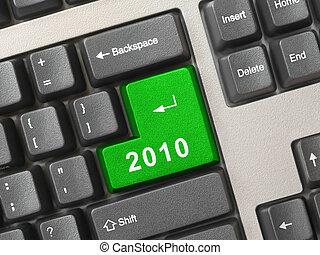 ordenador teclado, con, 2010, llave