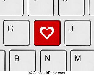 ordenador teclado, con, amor, llave