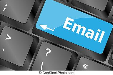 ordenador teclado, con, email, llave, -, concepto de la...