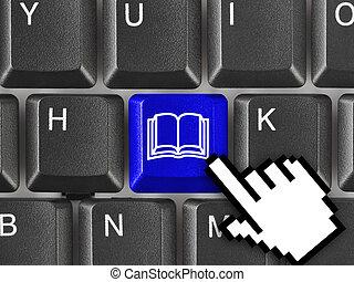 ordenador teclado, con, libro, llave