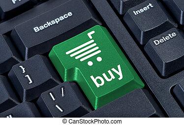 ordenador teclado, con, llave verde, comprar, internet, comercio, concept.
