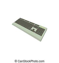 ordenador teclado, icono, caricatura, estilo