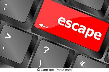 ordenador teclado, llave, con, escape, palabra