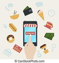 ordenar, rápido, teléfono, alimento, en línea, elegante
