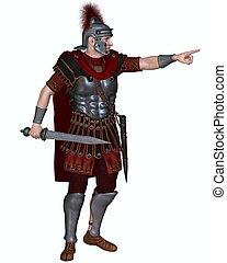 ordenar, romano, centurion, ataque