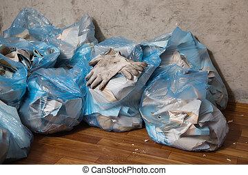 order., arbeitende , muell, sachen, sammeln, makeovers., stellen, tasche, gloves.