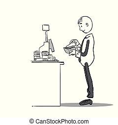 order., assegno, beni, customer's, service., fattura, ristorante, soldi, conto, cassiere, services., caffè, paying., pagamento