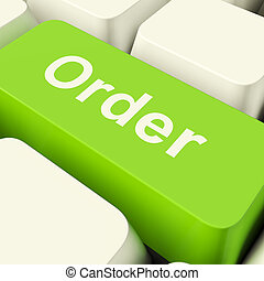 Order Computer Key In Green Showing Online Purchases And Shopping