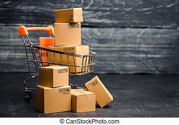 order., entrega, concepto, carretilla, viernes, ventas, supermercado, boxes., alto, descuentos, shopping., negro, en línea, bienes, venta, promotions., comercio, comercio, products.