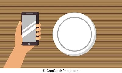 order food online - hand holding smartphone order fast food...