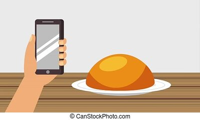 order food online - hand holding smartphone order mexican...