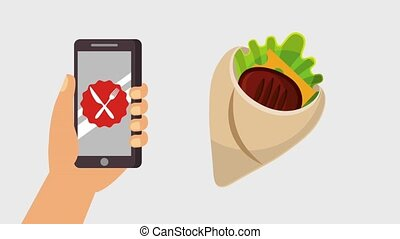 order food online - hand holding smartphone payment...