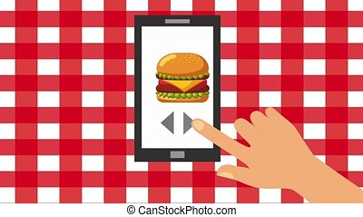 order food online hand select on screen mobile fast food